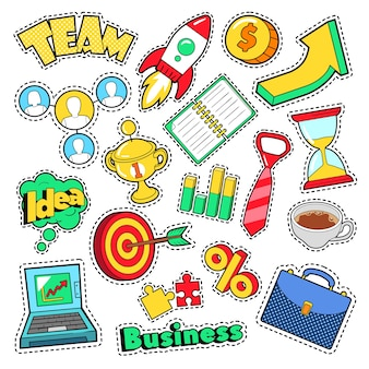 Business idea comic stickers, patches, badges with laptop and financial elements. vector doodle