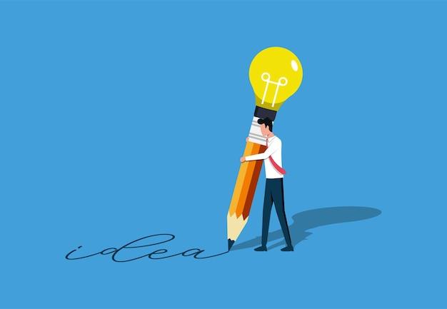 ビジネスアイデアの概念、電球の鉛筆で描くビジネスマン、アイデアを作成する