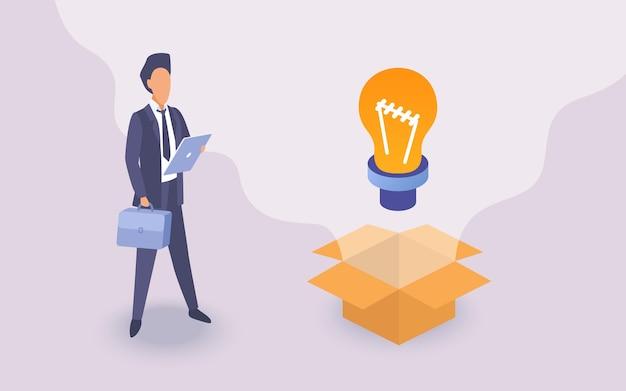 電球の近くに立っているタブレットとブリーフケースを保持しているビジネスアイデアコンセプトビジネスマン