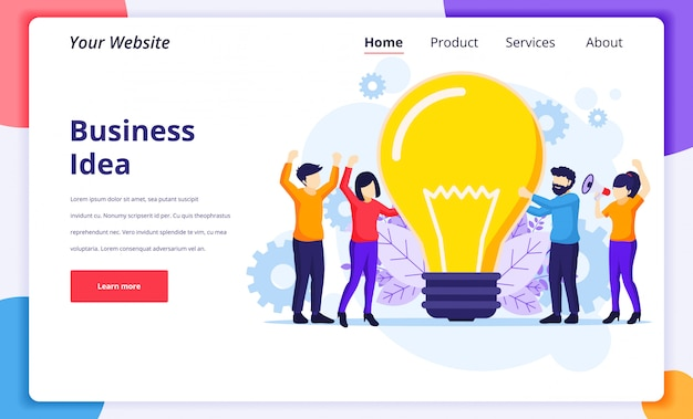 Business idea concept illustration, people holding a giant light bulb having ideas for website landing page