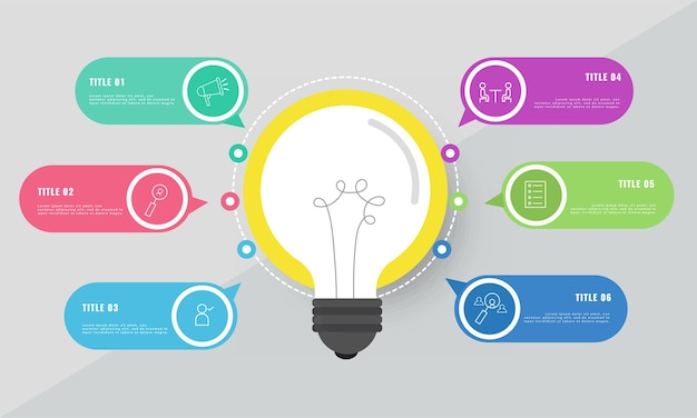 화려한 6 옵션 아이콘으로 사업 아이디어 개념