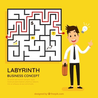 Business and idea concept with labyrinth