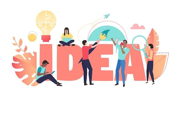 Бизнес-идея коралловый плакат с людьми, работающими вместе