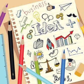 Бизнес-идея doodle на бумаге для заметок