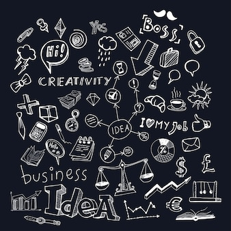 Business idea doodle set. isolated vector illustration