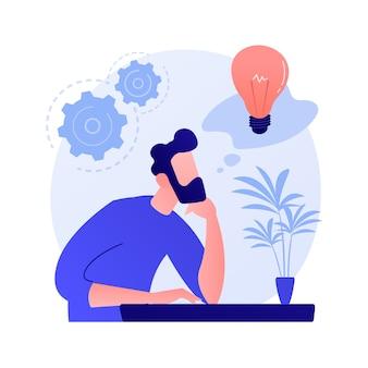 Generazione di idee imprenditoriali. sviluppo del piano. uomo pensieroso con personaggio dei cartoni animati della lampadina. mentalità tecnica, mente imprenditoriale, processo di brainstorming.
