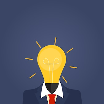 Business idea icon with light bulb. investing in innovation concept. modern   graphics.  illustration