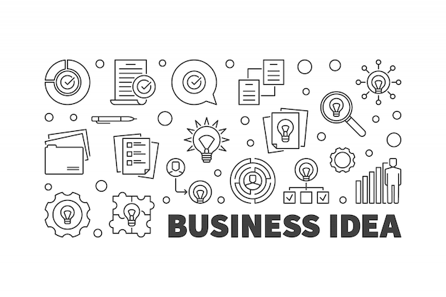 Business idea icons set