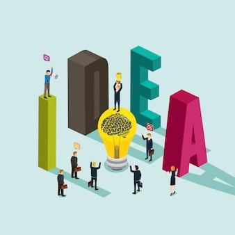 Business idea isometric concept