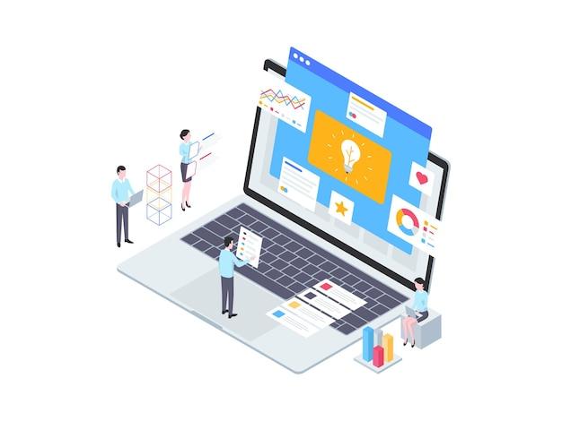 사업 아이디어 아이소메트릭 그림입니다. 모바일 앱, 웹사이트, 배너, 다이어그램, 인포그래픽 및 기타 그래픽 자산에 적합합니다.