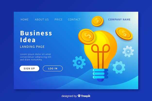 Business idea landing page template