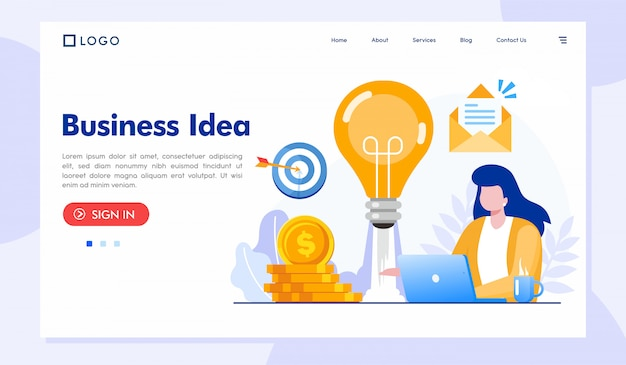 Business idea landing page website template