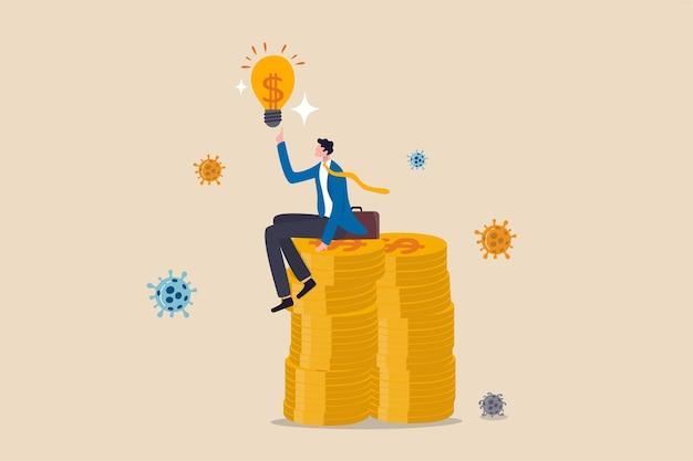 Бизнес-идея или инвестиционная возможность заработать деньги в концепции пандемии коронавируса covid-19, успешный руководитель бизнесмена, сидящий на стопке монет с деньгами, мышление с идеей лампочки, вирус covid-19.
