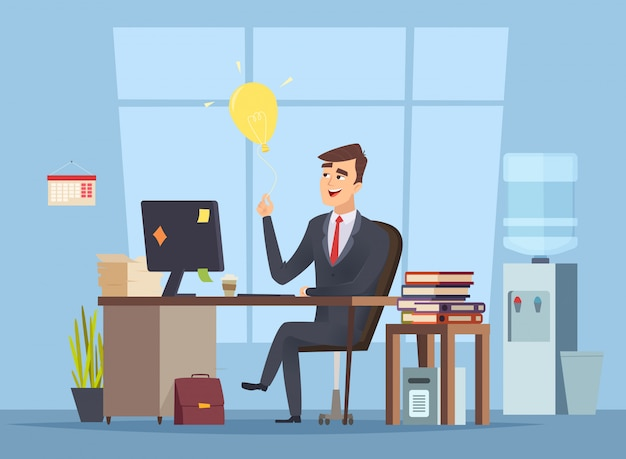 Business idea search. office manager have smart mind light bulb startup concept of success happy work  character cartoon style