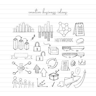 ビジネスアイデアのスケッチ。手描き落書き。