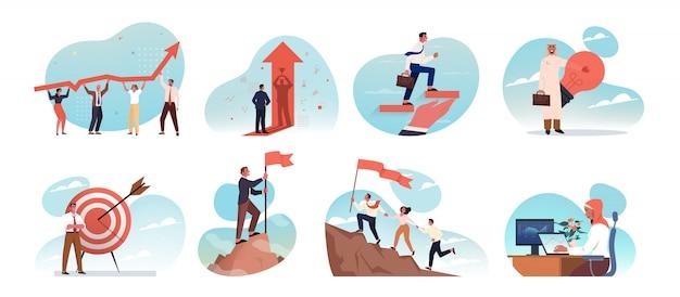 Business, idea, startup, goal achievement, success, celebration, motivation, coworking, teamwork set concept.