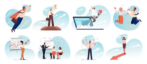 Business, idea, startup, goal achievement, success, celebration, motivation, teamwork set concept.
