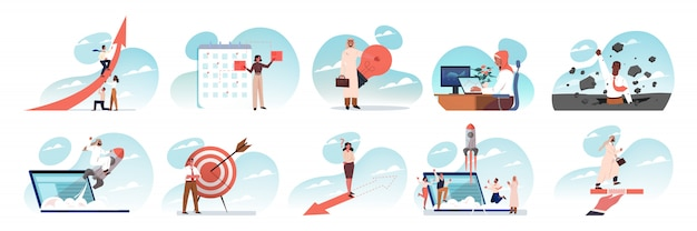 Business, idea, startup, success, teamwork, goal achievement set concept