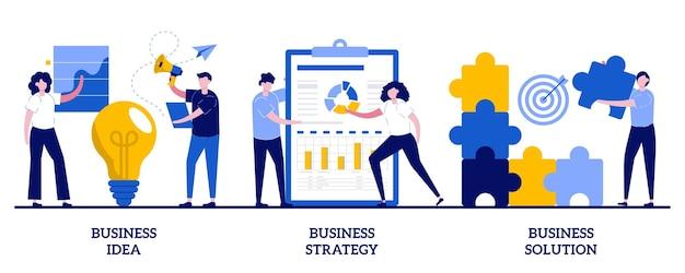 작은 사람들과 사업 아이디어, 전략 및 솔루션 개념. 사업 계획 추상 그림을 설정합니다. 회사 성과, 문제 해결, 의사 결정, 효과적인 성과 비유.