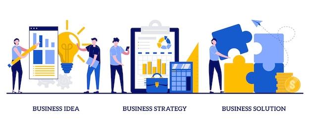작은 사람들과 사업 아이디어, 전략 및 솔루션 개념