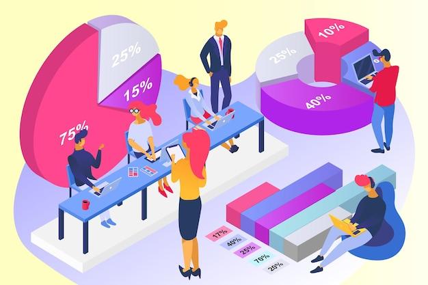 Бизнес-идея совместная работа расчет процентная диаграмма офисная работа клерк персонаж вместе решение проблем ...