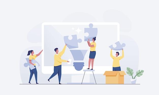 Бизнес-идея метафора команды соединяет элементы головоломки. векторная иллюстрация
