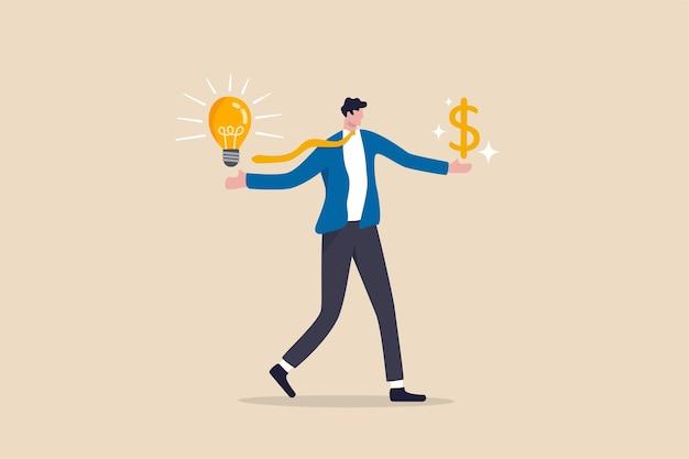 수익 투자 또는 재무 계획 개념을 만들기 위해 돈 혁신과 창의성을 만드는 사업 아이디어