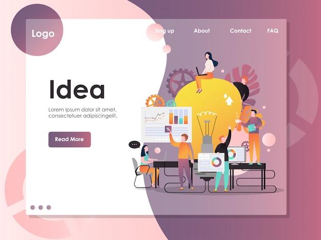 ビジネスアイデアベクトルのウェブサイトのランディングページテンプレート
