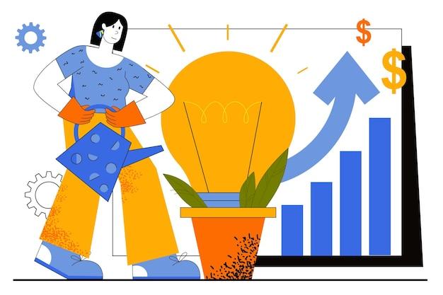 Бизнес-идея веб-концепции. деловая женщина, развивающая новый проект. женщина, поливающая лампочку, метафора инноваций и инвестиций.