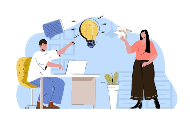 Business idea web concept illustration with flat people character
