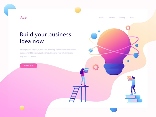 Business idea website flat illustration