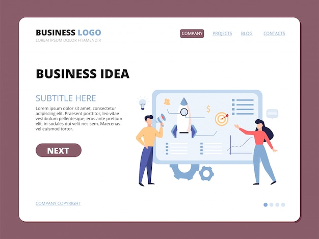 Business idea website landing page template