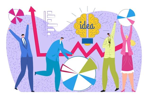 グラフ、ベクトルイラストとビジネスアイデア。チームワークミーティングでフラットな男性と女性のキャラクター、人々はチャートを見て、一緒にブレーンストーミングします。幸せなチームは会議で成功した戦略を使用します。