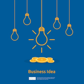 Business idea with light bulb and dollar coin element object.