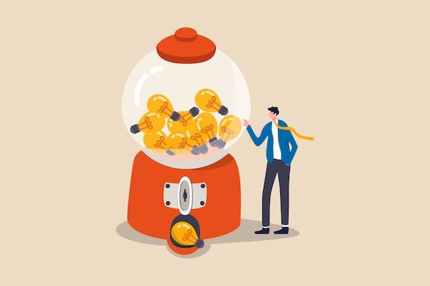 사업 아이디어, 창의성, 시작 및 기업가 또는 혁신 전구 기호 개념, 전구 아이디어가 풍부한 gumball 기계와 함께 서있는 아이디어가 많은 똑똑한 사업가.