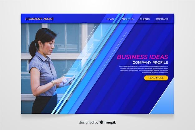 Pagina di destinazione idee imprenditoriali con foto