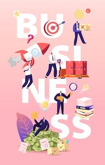 비즈니스 그림입니다. 사업가 캐릭터 시작, 문서 작업 및 큰 돈 벌기