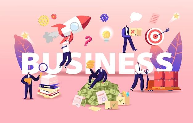 ビジネスイラスト。ビジネスマンのキャラクターがスタートアップを立ち上げ、ドキュメントを操作して大金を稼ぐ