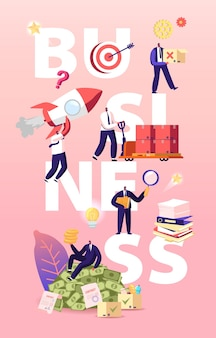 Business illustration. businessmen characters launch startup, working with documents and earning big money Premium Vector
