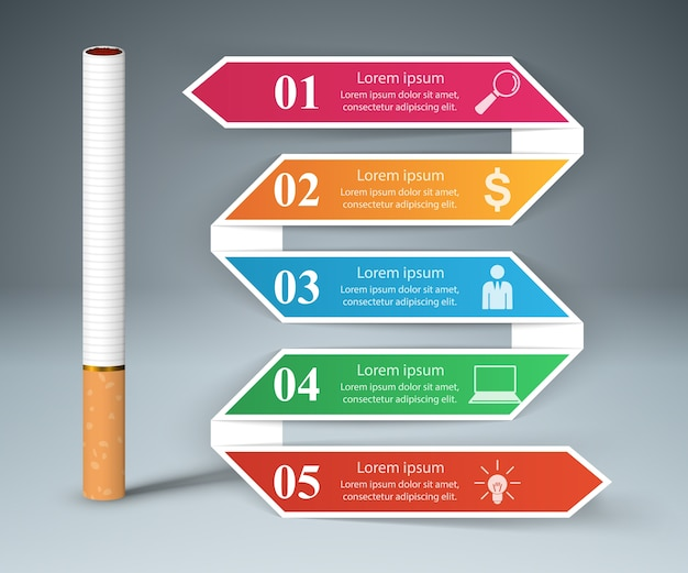 Business illustration of a cigarette and harm
