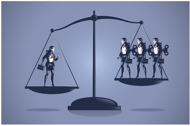 Концепция бизнес-иллюстрации одной умной деловой женщины перевешивает многих некомпетентных работников