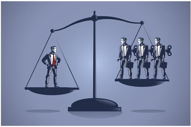 Концепция бизнес-иллюстрации одного умного бизнесмена перевешивает многих некомпетентных работников