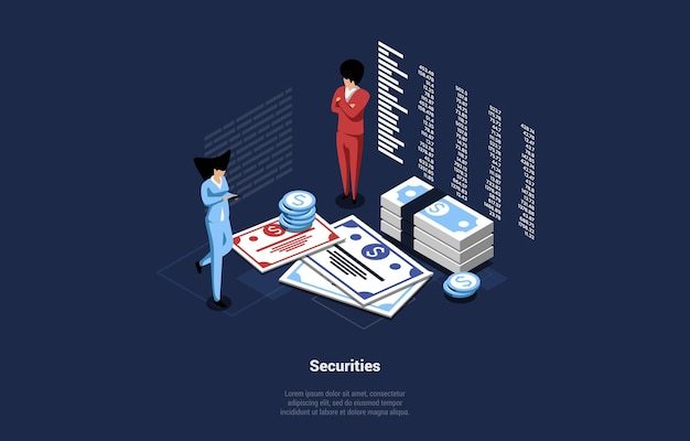 Business illustration of money securities concept.