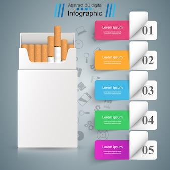 タバコのビジネスイラストと害。