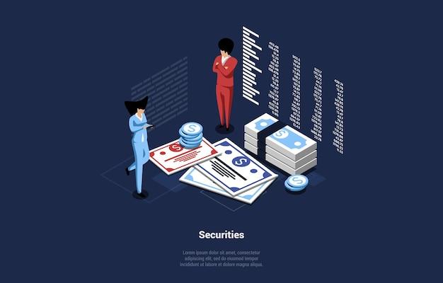 Бизнес-иллюстрация концепции ценных бумаг денег.