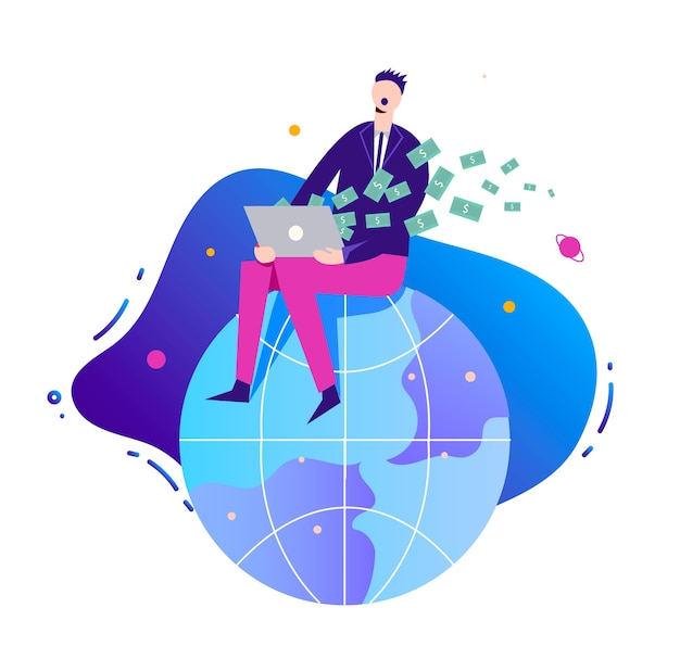 Business illustration, stylized character. businessman making money online, earning on network, internet. man sitting on the globe with notebook.
