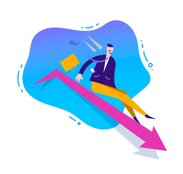 Business illustration, stylized character. failed business sales concept. man sliding down by the arrow, loosing position in business
