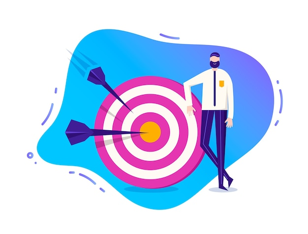 Business illustration, stylized character. man standing near the target with arrows. goal achievement illustration