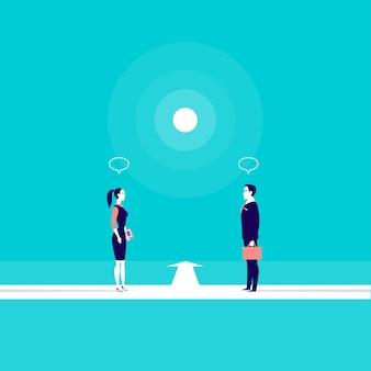 道路を結ぶ道路上でオフィスの男性と女性がお互いの前に立っているビジネスイラスト。コラボレーション、パートナーシップ、チームビルディングのメタファー