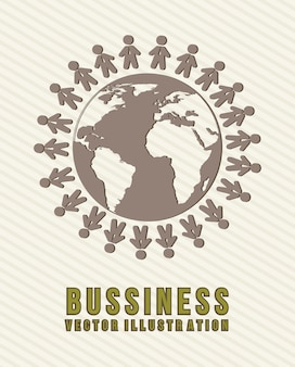 Business illutration people over planet vector background